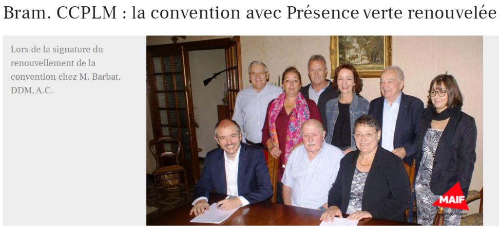 Bram CCPLM la convention avec Présence Verte renouvelée